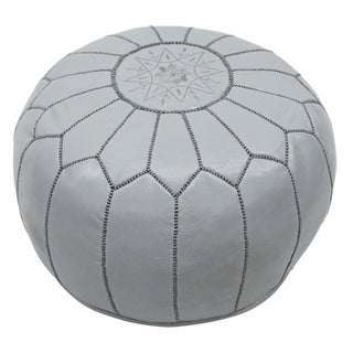 Handmade Gray Leather Pouf