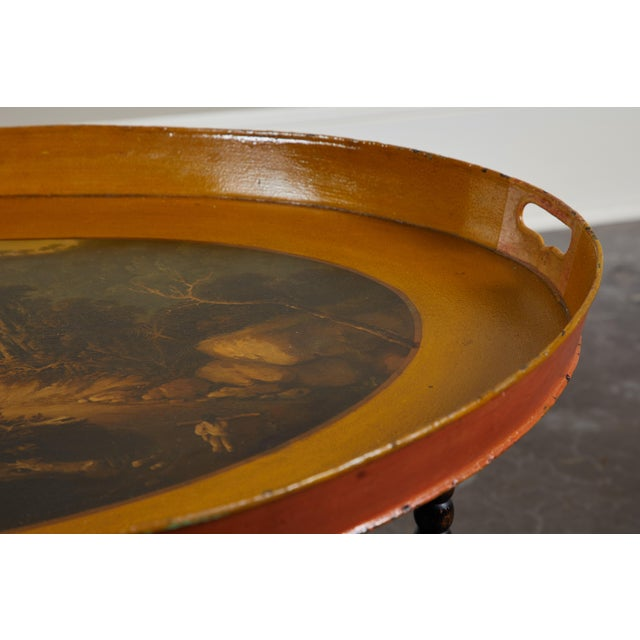 19th C. Danish Tole Tray Table For Sale In Los Angeles - Image 6 of 8