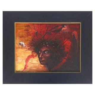 William Carmona Surrealist Oil Painting on Canvas, Cuban/ Puerto Rican Artist For Sale