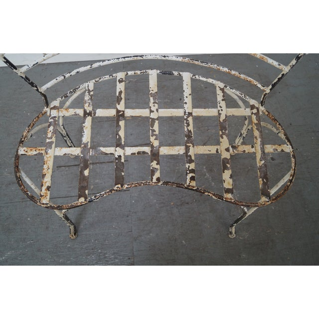 Antique French Iron Garden Patio Bench - Image 8 of 10