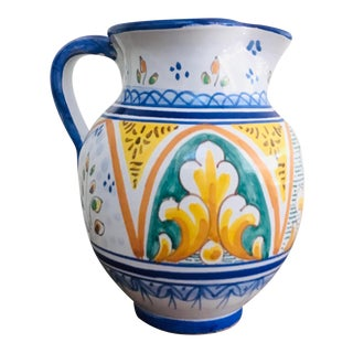 Spanish Talavera Hand Painted Signed Ceramic Pottery Pitcher For Sale