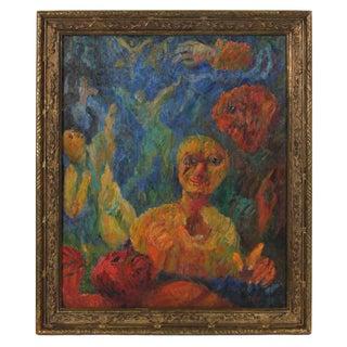 "Jennings Tofel ""Daybreak"" Expressionist Figurative Scene, Oil on Canvas, 1949 1949 For Sale"