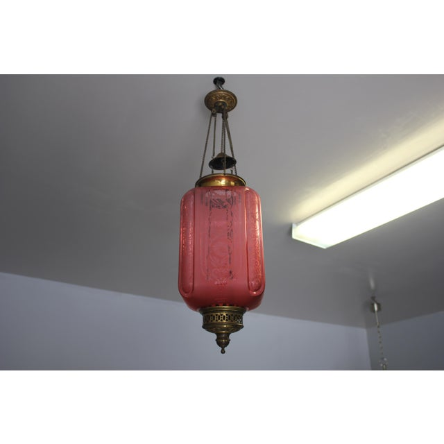 Beautiful French Art Nouveau / Art Deco Pink Oil Lantern Or Pendant Signed By ''BACCARAT''Circa 1900th Centuy. For Sale - Image 12 of 13