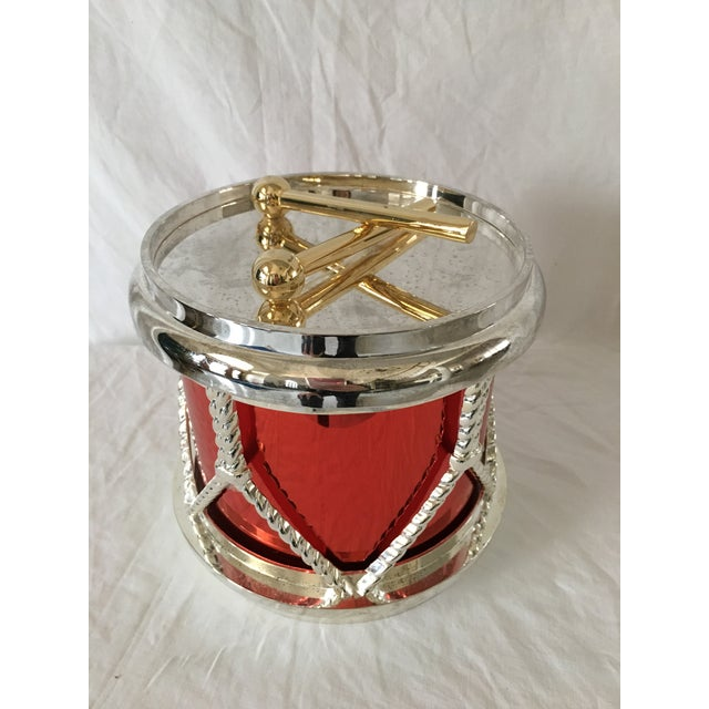 Just in time for the holidays ! Godinger silverplate, red and gold drum ice bucket. Brighten up the festivities with this...