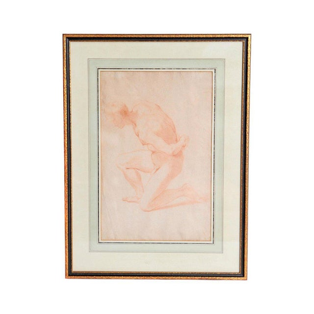 19th Century Continental Red Chalk Drawing, Figure Study For Sale - Image 12 of 12