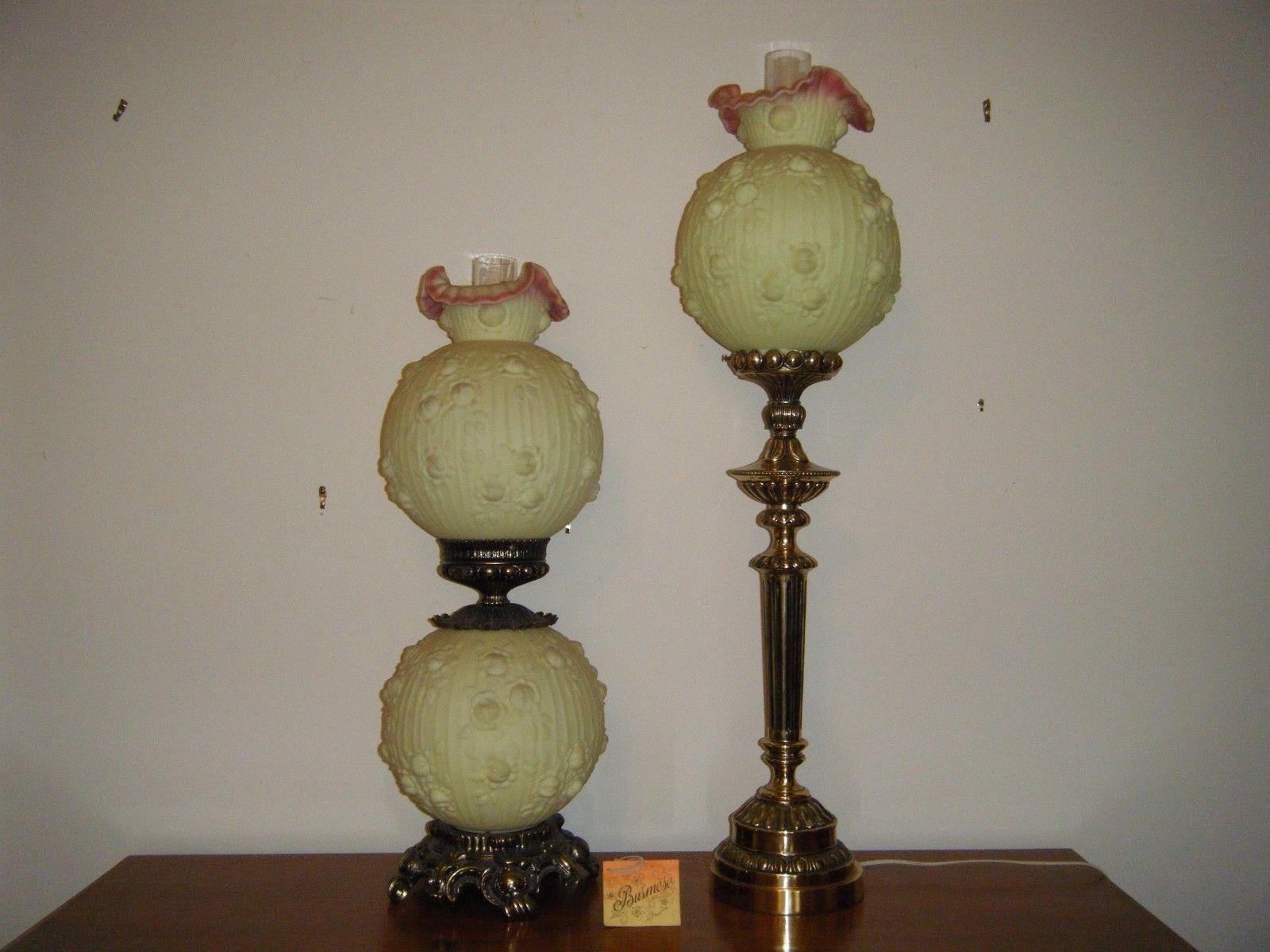 Perfect Vintage Fenton Burmese Glass Hurricane Globe Table Lamps   Pair   Image 2  Of 7