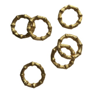 Set of 6 - Faux Bamboo Gilt Napkin Rings For Sale