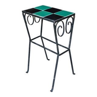 Antique Arts & Craft D&M California Tile Top Wrought Iron Side Table For Sale
