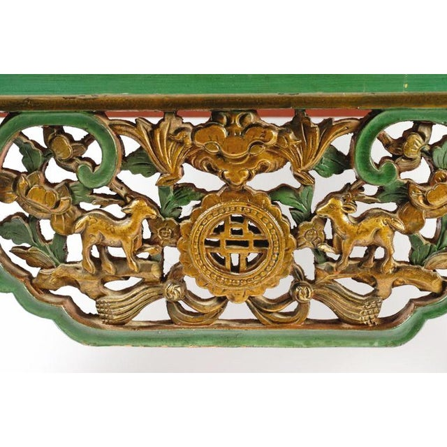 Green Emerald Green Chinese Cabinet Inset With Gilt Antique Panels For Sale - Image 8 of 11