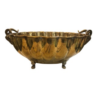 Early 20th Century Vintage Brass Ram Compote For Sale