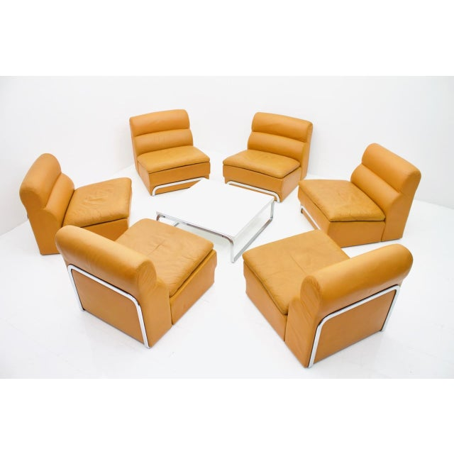 Rare modular seating group with foot stool and a coffee table by Horst Brüning for Kill International, Germany, 1970s. Six...