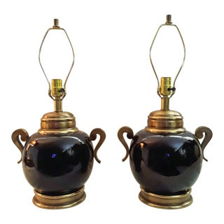 Mid 20th Century Hollywood Regency Art Deco Black Porcelain & Brass Lamps - a Pair For Sale
