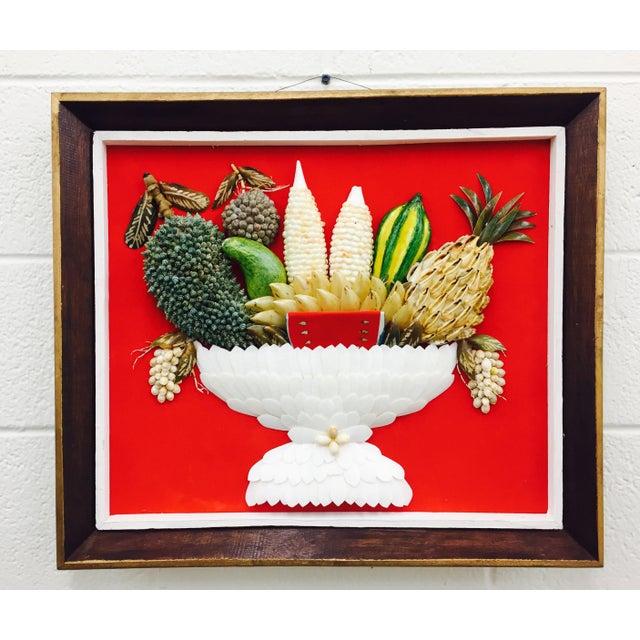 Vintage Folk Art Seashell Fruit Basket Painting in Frame For Sale - Image 11 of 11