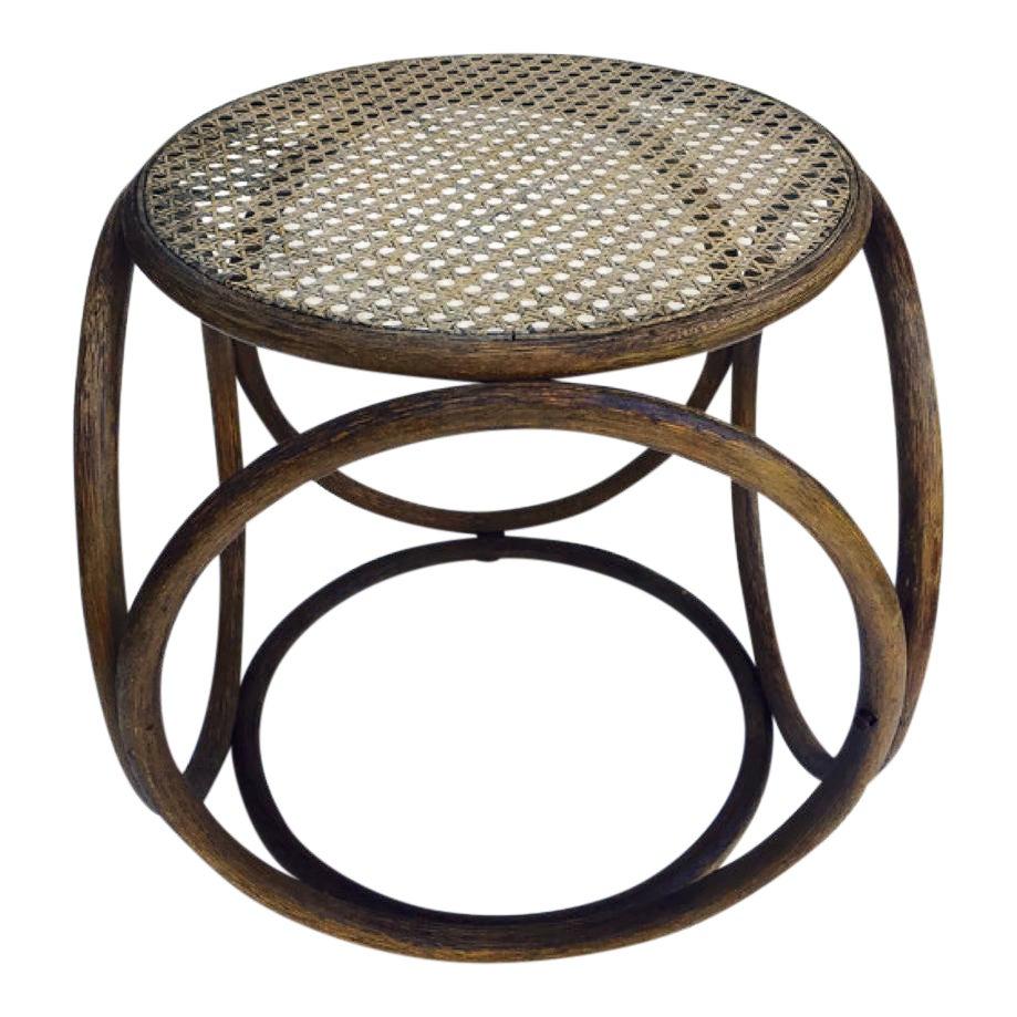 Fine Thonet Style Mid Century Bent Wood Cane Stool Short Links Chair Design For Home Short Linksinfo