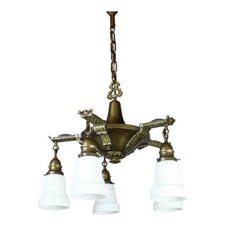 Antique Edwardian Pan Light Fixture (5-Light)