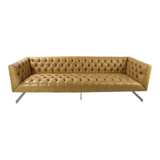 Tufted Leather and Chrome Chesterfield Sofa For Sale