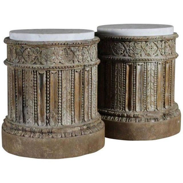 Pair of 18th Century English Table Pedestals with Marble Tops For Sale In Wichita - Image 6 of 6