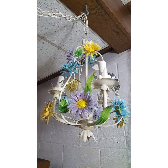 1970s Italian Floral Pastel Tole 3 Light Statement Chandelier For Sale In Baltimore - Image 6 of 8