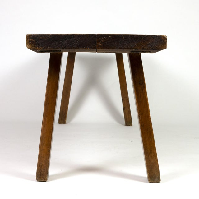 Country Rustic Elm Work Bench With Square Iron Pegs, English Circa 1880. For Sale - Image 3 of 13
