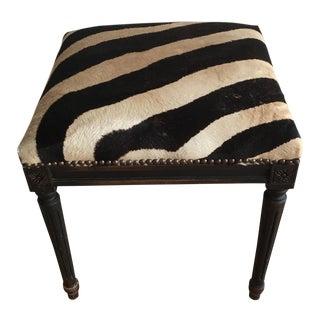 Vintage Zebra Upholstered Bench