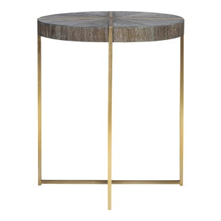 Walnut Cerused Round Accent Table For Sale