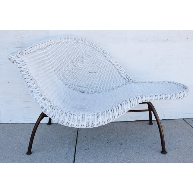 Vintage Modernistic Asymmetric Woven Wicker Chaise Lounge For Sale - Image 9 of 13