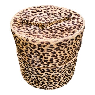 1960s Faux Leopard Hat Box For Sale