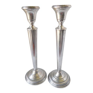 Vintage 1960s Arrowsmith Sterling Weighted Candlesticks - a Pair For Sale