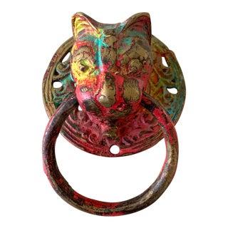 Antique Brass Tiger Door Knocker For Sale