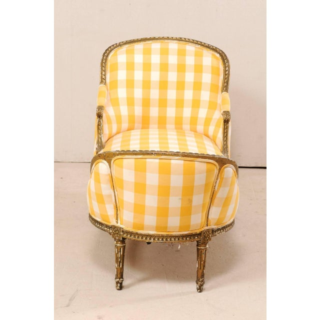 Yellow Turn of the Century French Louis XVI Style Chaise For Sale - Image 8 of 11