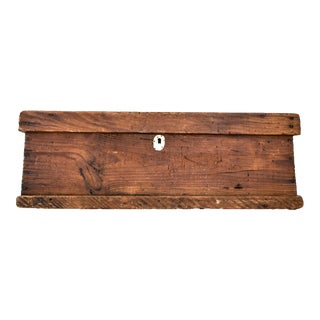 Large Vintage Primitive Wooden Toolbox For Sale