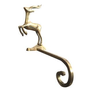 Vintage Mid Century Modern Brass Gazelle Christmas Stocking Hanger Hook For Sale