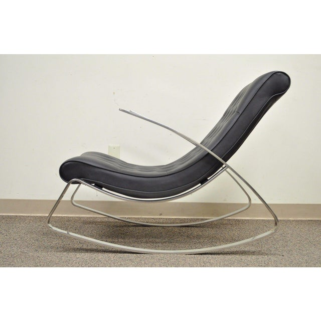 Contemporary Modern Chrome Steel Rocker Rocking Lounge Chair Mid Century Style - Image 8 of 10
