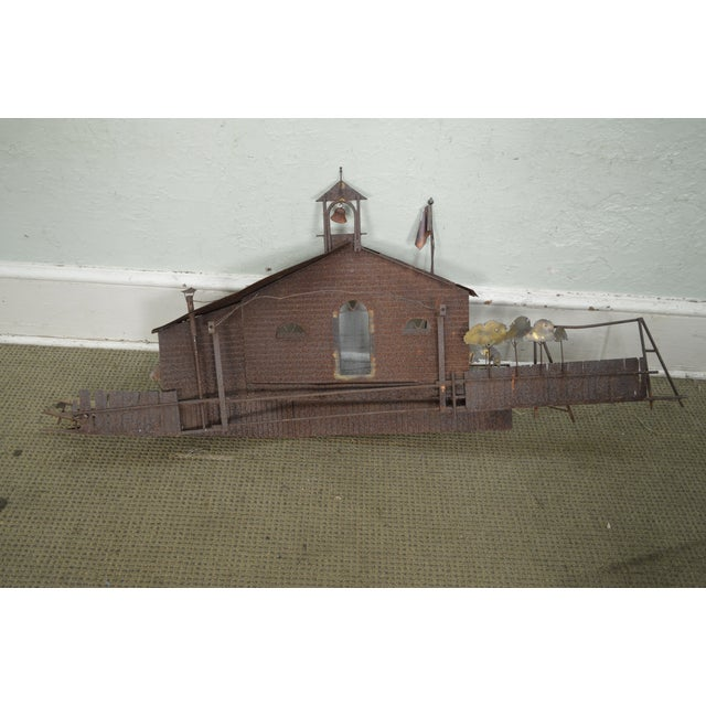 Curtis Jere Large Rusted Metal Wall Sculpture of Meeting House For Sale - Image 5 of 11