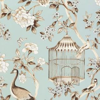 Schumacher Oiseaux Et Fleurs Wallpaper in Mineral For Sale