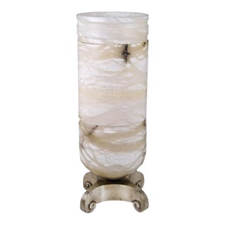 Art Deco Ruhlmann Bronze & Alabaster Urn Light For Sale