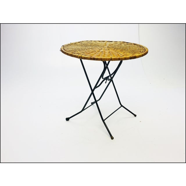 Mid Century Modern Wicker & Iron Round Folding Side Table For Sale - Image 11 of 11