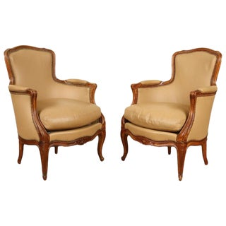 1920s Vintage Louis XV Style Cherry Bergere Chairs- A Pair For Sale