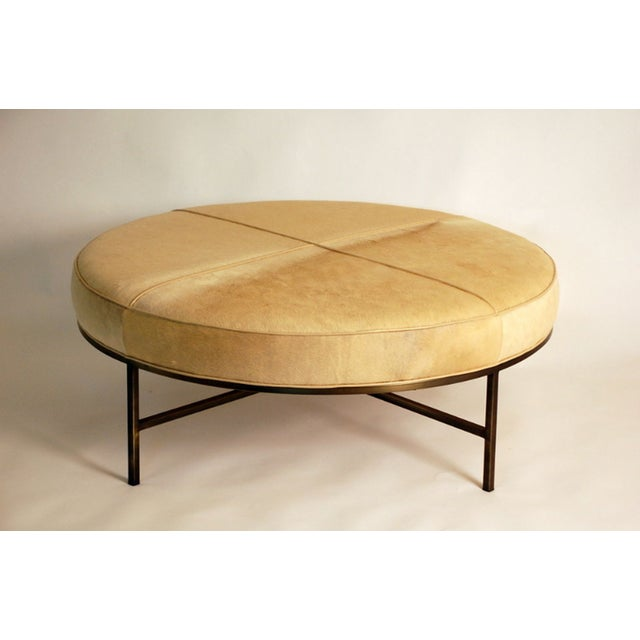 """Contemporary """"Tambour"""" Natural Hide and Brass Ottoman For Sale - Image 10 of 10"""