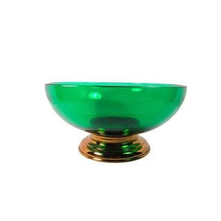 1940s Mid-Century Modern Paden City Emerald Glass Serving Bowl