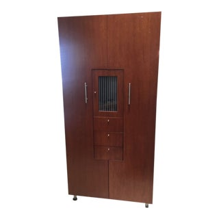 Modern Armoire With Clean Line Finish and Oak Finish For Sale