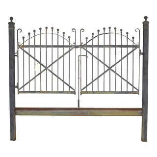 Antique Double Iron Gate Architectural Garden Fence For Sale