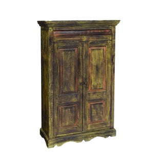 19th Century Rustic Dutch Colonial Polychrome Painted Teak Kitchen Cabinet For Sale