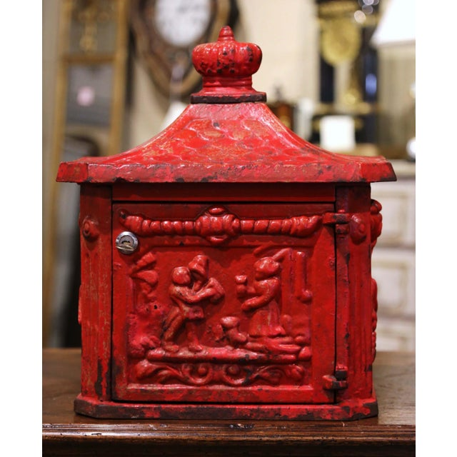 19th Century English Red Painted Cast Iron Mailbox With Relief Decor For Sale In Dallas - Image 6 of 10