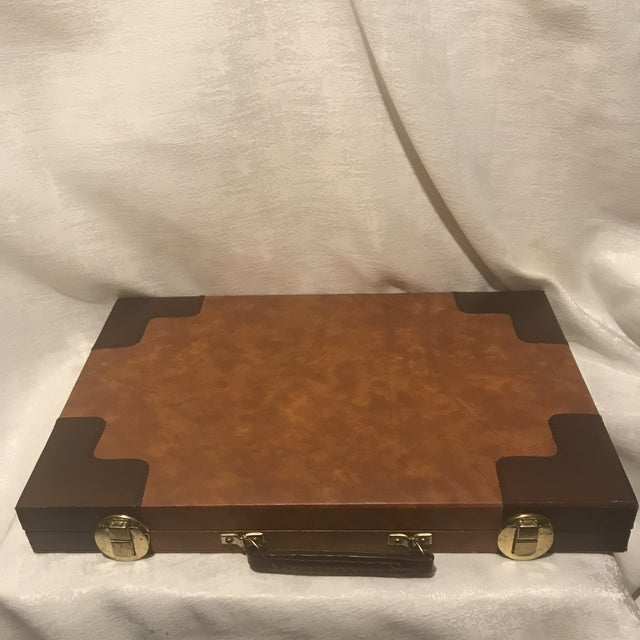 Vintage Mid Century Burl Backgammon Game Board & Case- 37 Pieces For Sale - Image 4 of 7