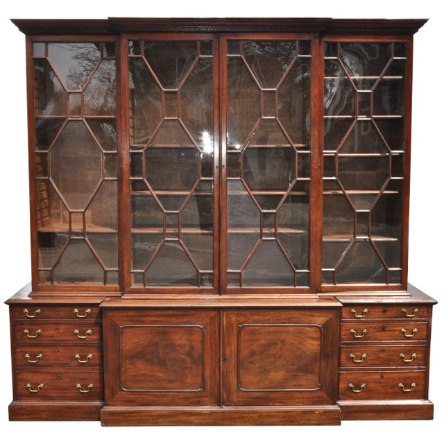 Wood Period 18th Century George III Mahogany Breakfront Bookcase For Sale - Image 7 of 7
