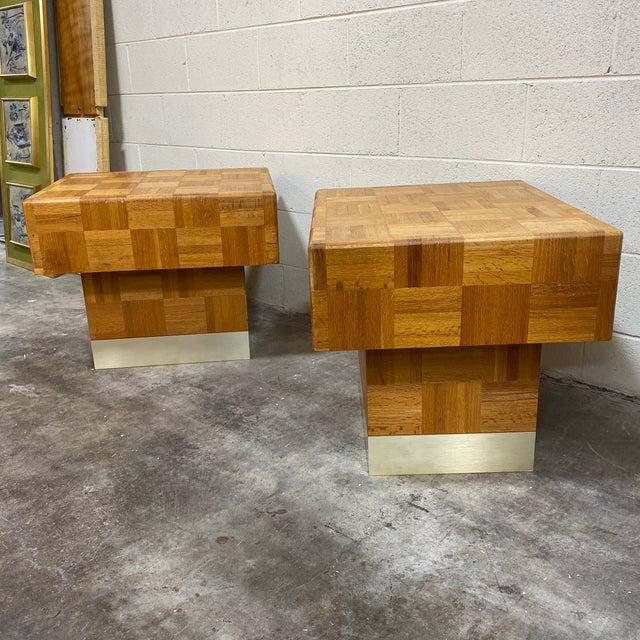 70s Parquet End Tables- a Pair For Sale - Image 10 of 11