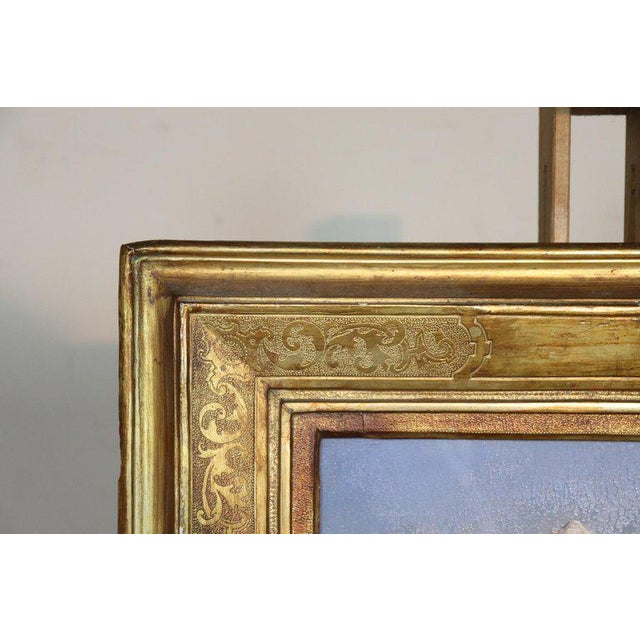1920s Italian Oil Painting Mountain Landscape With Golden Frame For Sale - Image 5 of 13