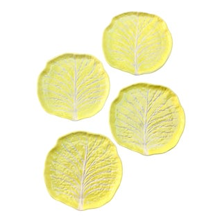 Vintage Yellow Cabbage Plates - Set of 4 For Sale