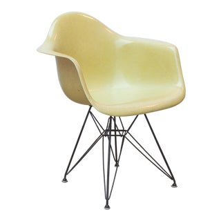 Eames Molded Fiberglass Armchair in Lemon Yellow For Sale